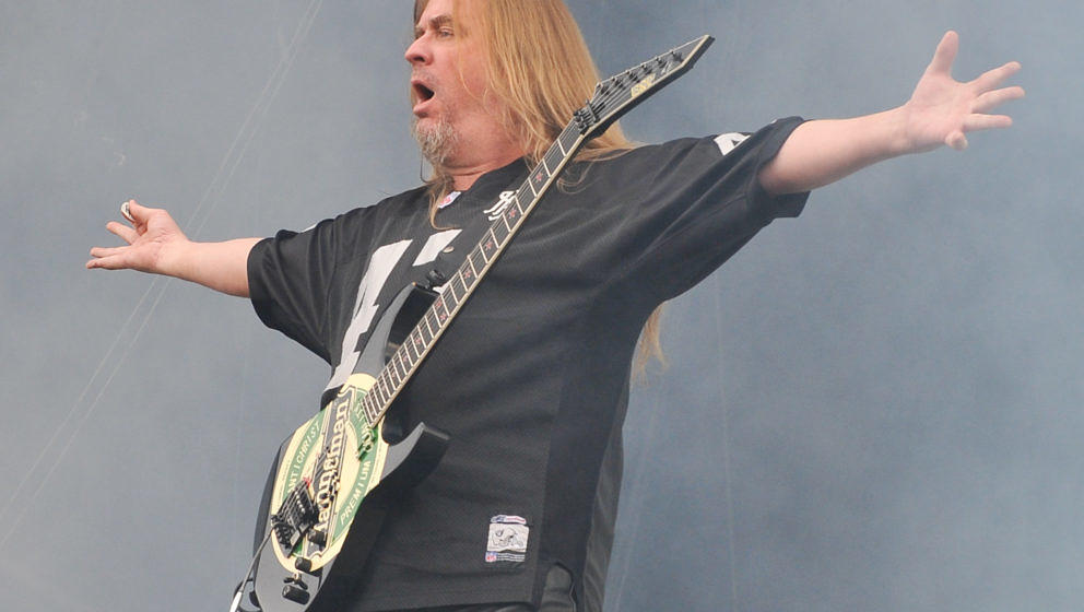 STEVENAGE, ENGLAND - AUGUST 01:  Jeff Hanneman of Slayer performs on stage during the final day of Sonisphere Festival 2010 a
