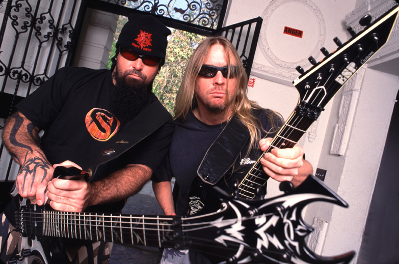 Kerry King & Jeff Hanneman during Slayer Photo Shoot at Los Angeles in Los Angeles, California, United States. (Photo by
