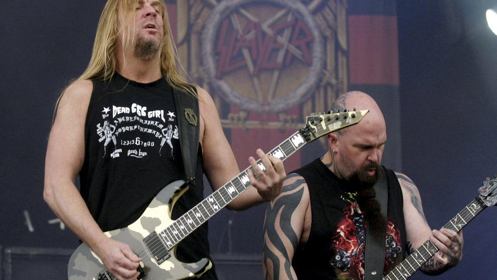Kerry King &Jeff Hanneman fromSlayer performing live at the main stage at Download festival, Downington Park on June 11,2