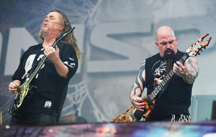 KNEBWORTH, UNITED KINGDOM - AUGUST 1: Jeff Hanneman (L) and Kerry King of American thrash metal band Slayer performing live o