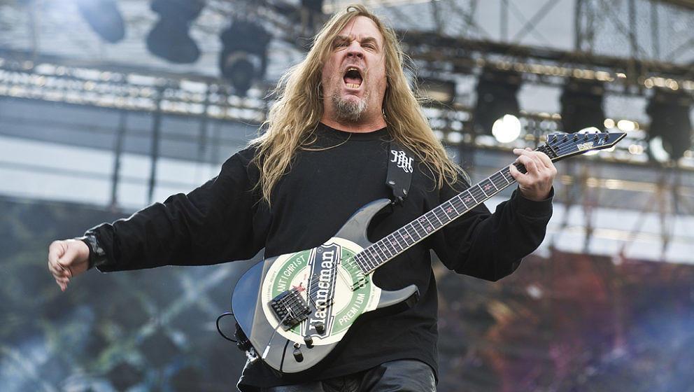 WARSAW, POLAND - JUNE 16: Jeff Hanneman of American thrash metal band Slayer, live on stage at Sonisphere Festival, June 16,