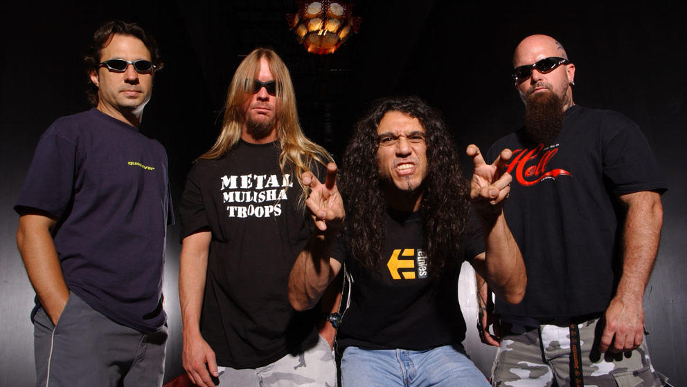 FORT LAUDERDALE FL - MAY 11:  Dave Lombardo, Jeff Hanneman, Tom Araya and Kerry King of Slayer pose for a portrait at Revolut
