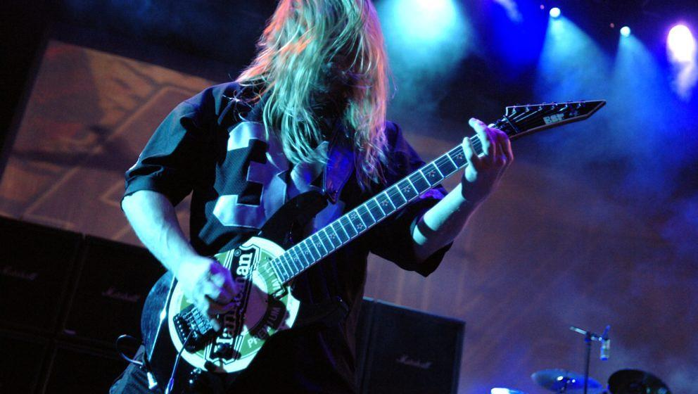 CONCORD, CA - AUGUST 23: Jeff Hanneman and Slayer perform in support of the bands 'Christ Illusion' release at the Sleep Trai