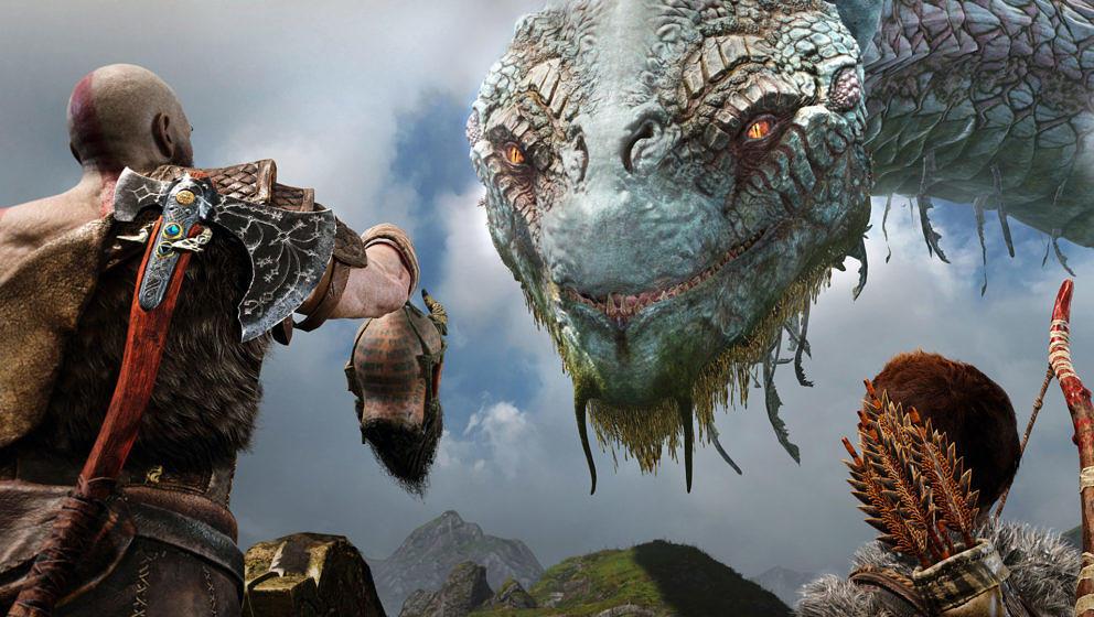 Die Weltenschlange Jörmungandr ist zwar riesig und wirkt bedrohlich, ist Kratos und seinem Sohn aber wohlgesonnen