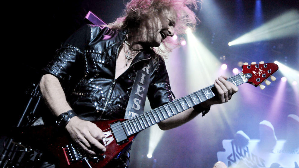 UNIVERSAL CITY, CA - AUGUST 02:  Guitarist K.K. Downing of the band Judas Priest performs at The Gibson Amphitheatre on Augus