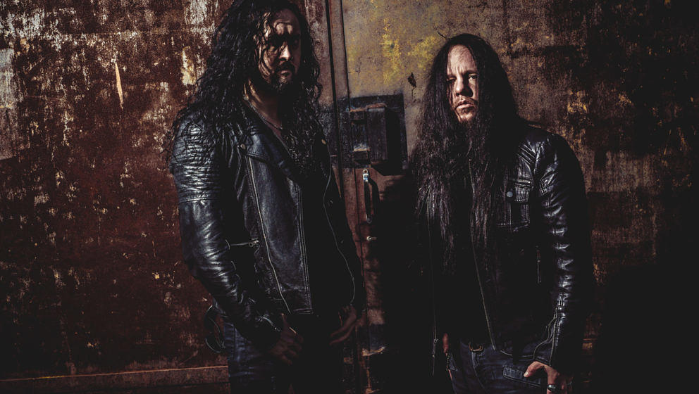 Frédéric Leclercq (l.) und Joey Jordison 2018 als Sinsaenum