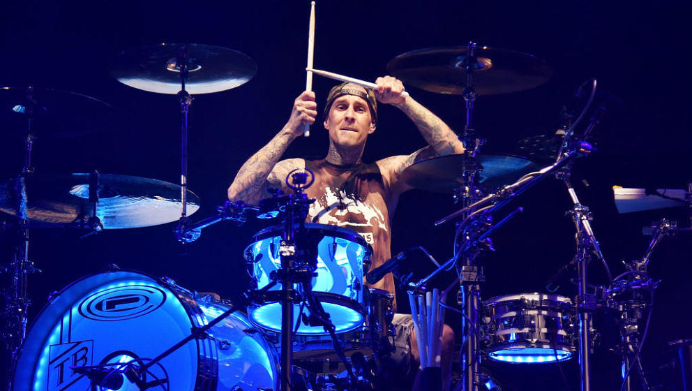 CONCORD, CA - MAY 13:  Travis Barker of Blink 182 performs during the Live 105 BFD at Concord Pavilion on May 13, 2018 in Con