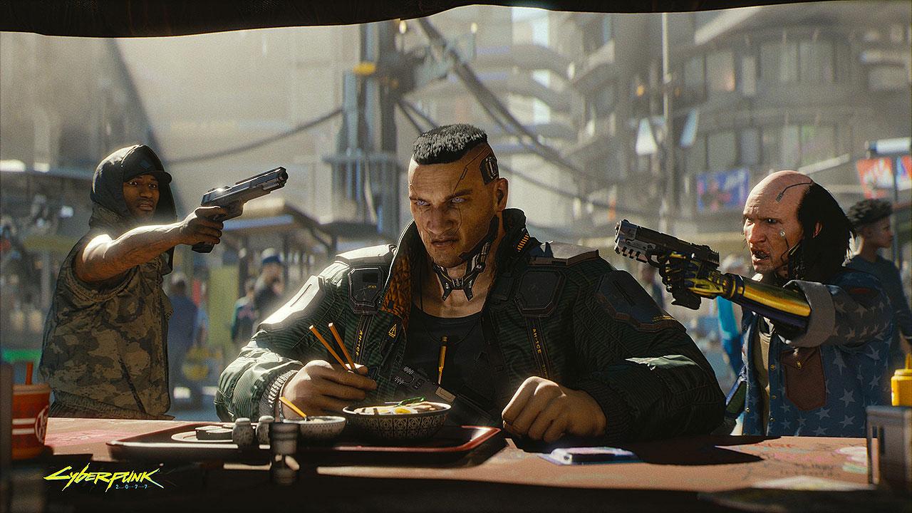"""Selbst in Ruhe essen ist in der Welt von """"Cyberpunk 2077"""" nicht so einfach..."""