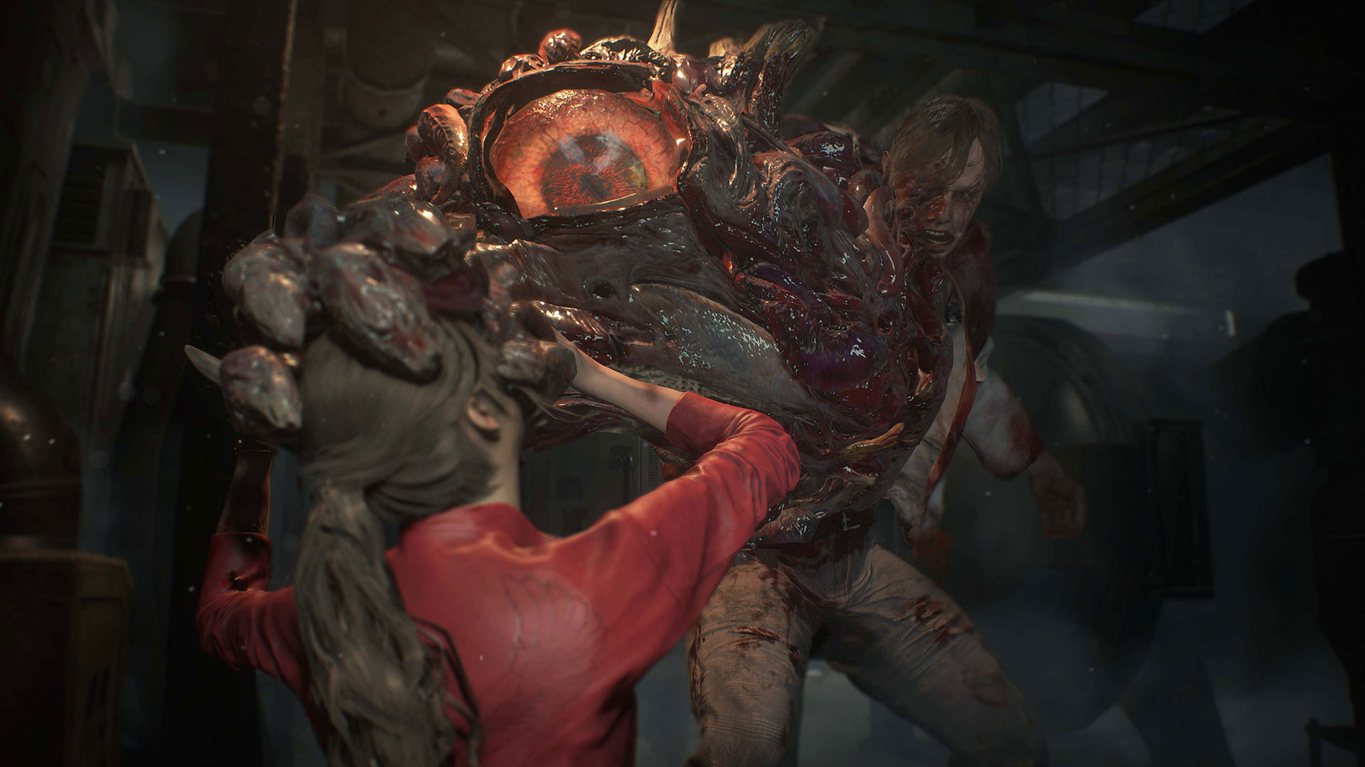 Claire Redfield wird von einem vom G-Virus infizierten William Birkin angegriffen