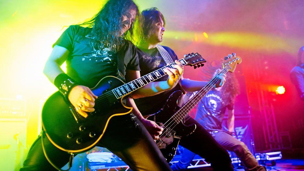 PWLLHELI, UNITED KINGDOM - MARCH 16: Mats Bjorkman and Leif Edling of Candlemass performs on stage at Hammerfest 2013 on Marc