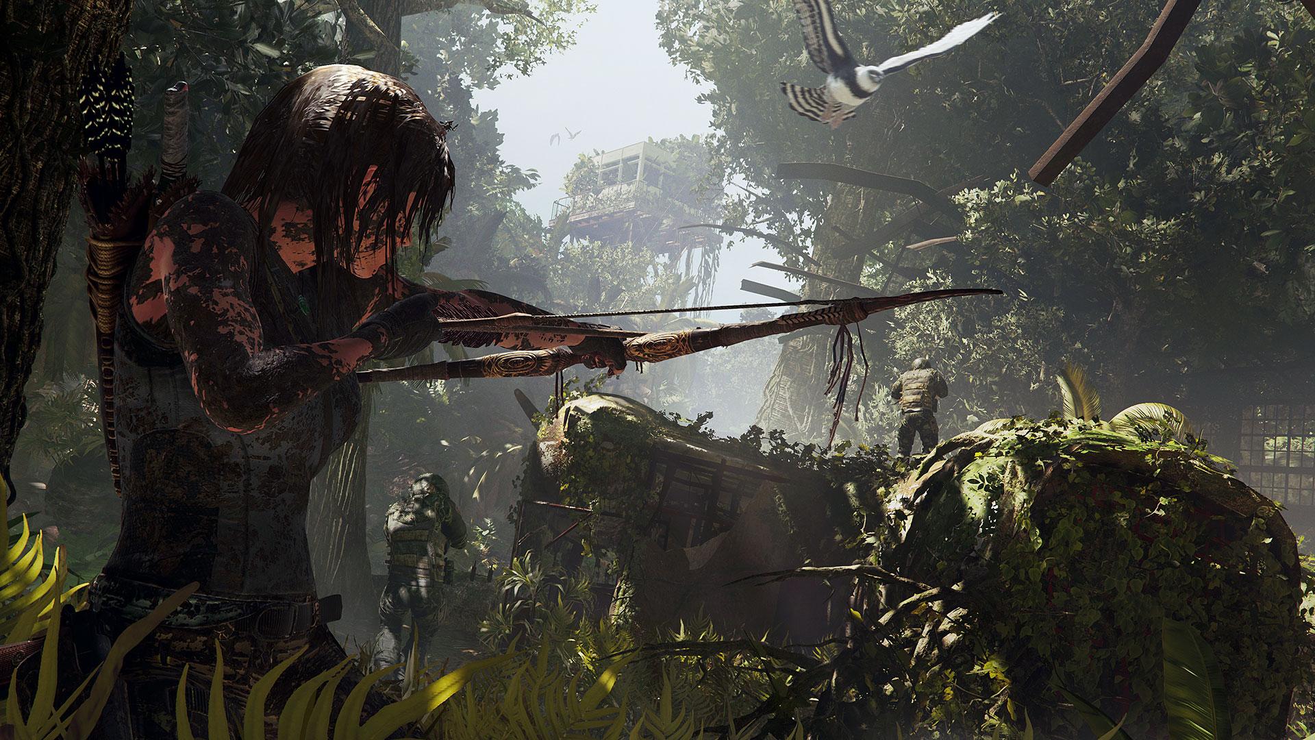 Mit ihrem Bogen kann Lara Gegner lautlos ausschalten