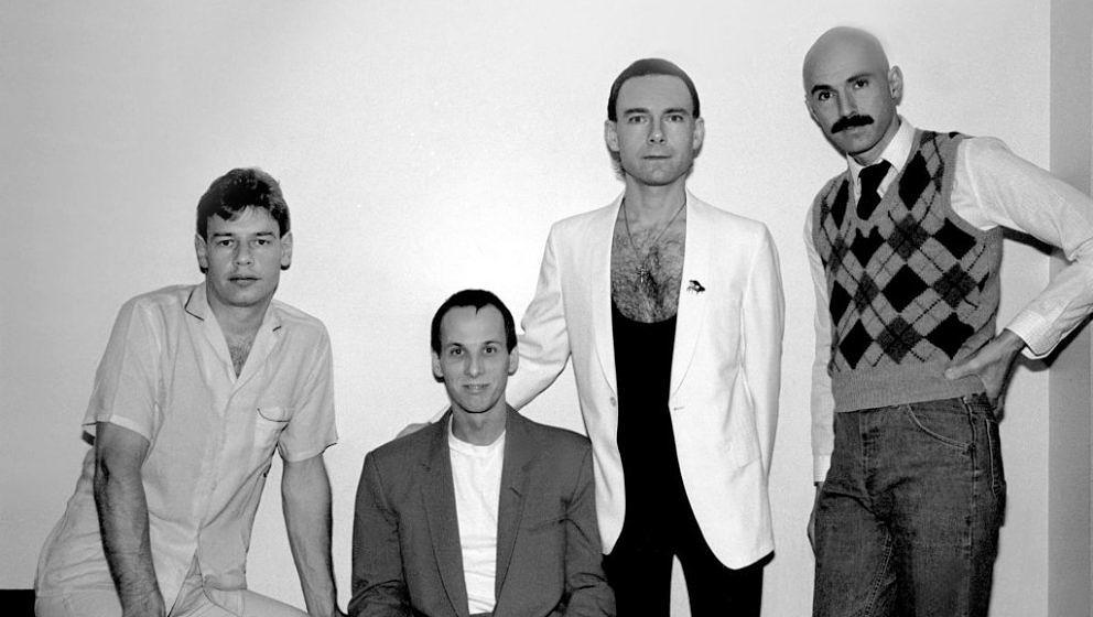 Portrait of the band King Crimson, left to right, Bill Bruford, Adrian Belew, Robert Fripp, and Tony Levin at the Park West i