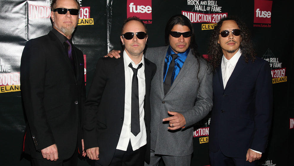 (L-R) Musicians James Hetfield, Lars Ulrich, Robert Trujillo and Kirk Hammett of Metallica attend the 24th Annual Rock and Ro
