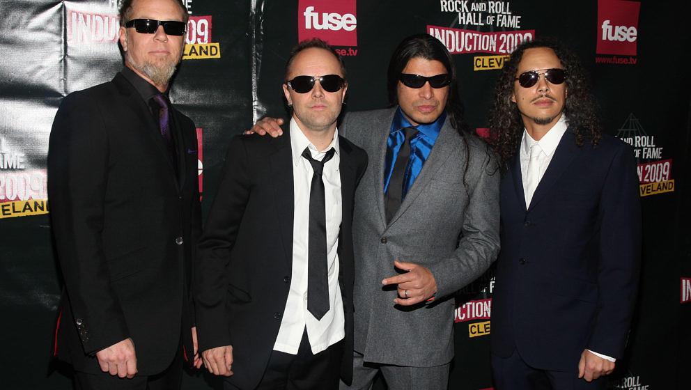 (L-R) Musicians James Hetfield, Lars Ulrich, Robert Trujillo and Kirk Hammett of Metallica attend the 24th Annual Rock and Ro