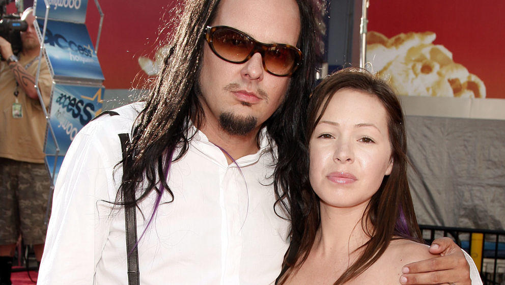 UNIVERSAL CITY, CA - JULY 27:  Musician Jonathan Davis and his wife Deven arrive at the premiere of Universal Picture's 'The