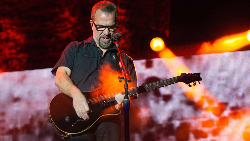 SACRAMENTO, CA - OCTOBER 13:  Guitarist Tony Rombola of Godsmack performs at Aftershock Festival 2018 at Discovery Park on Oc