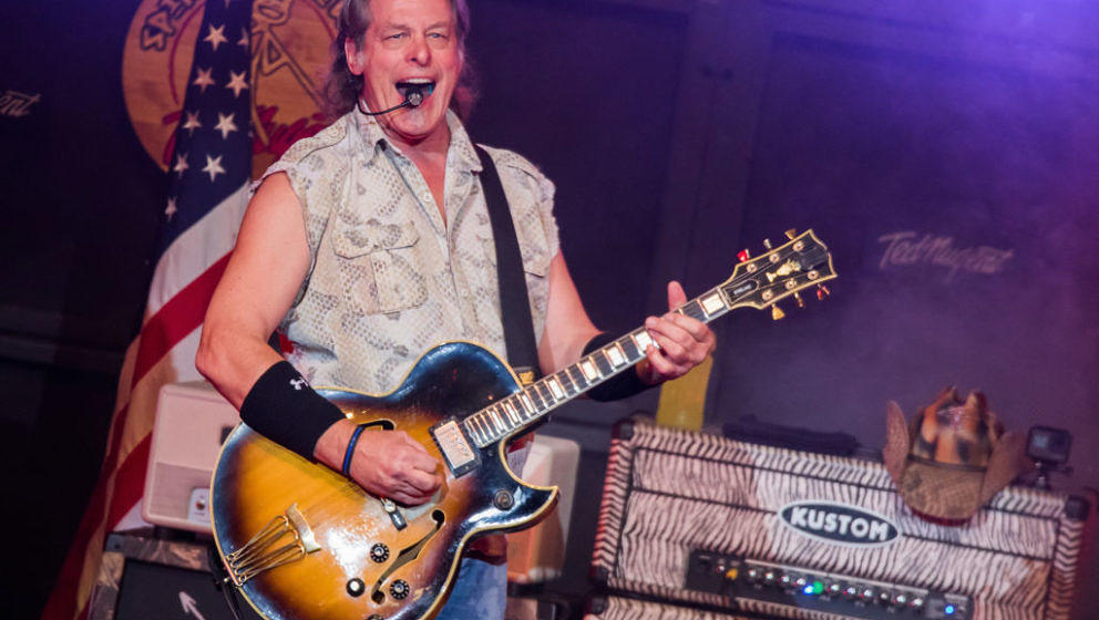 STERLING HEIGHTS, MI - AUGUST 25:  Ted Nugent performs in support of the Rockin America Again! Tour at Michigan Lottery Amphi
