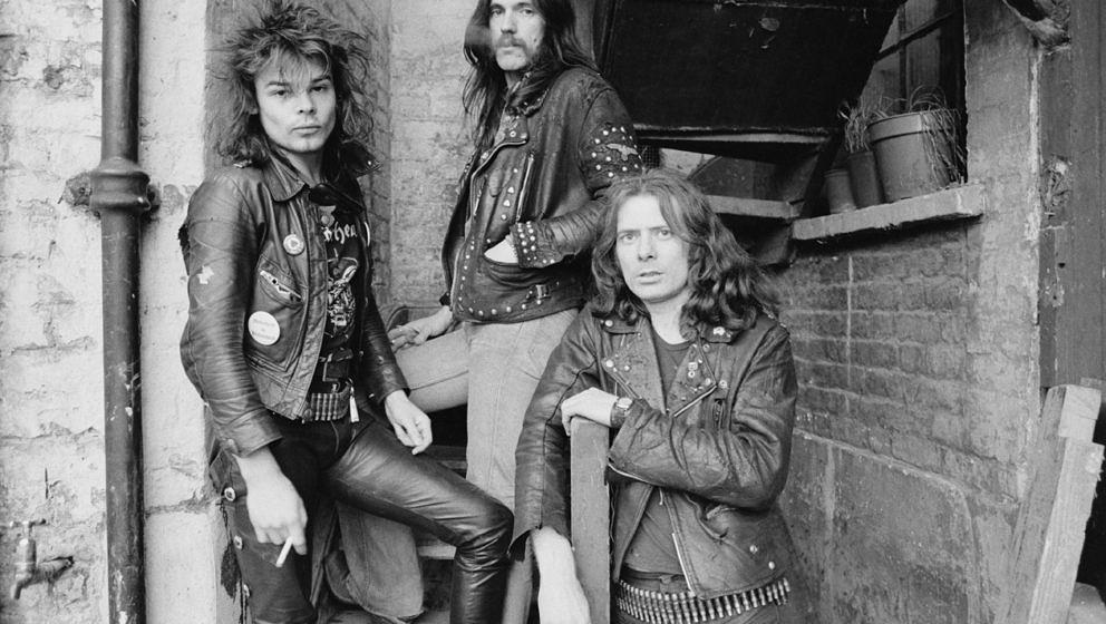 British heavy rock band Motorhead, London, 1978. Left to right: drummer Phil 'Philthy Animal' Taylor, bassist and singer Lemm