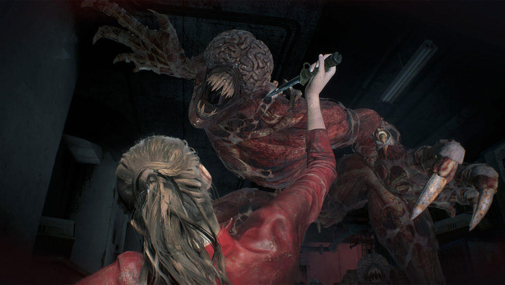 """""""Resident Evil 2"""": Claire Redfield wird von einem Licker angegriffen."""