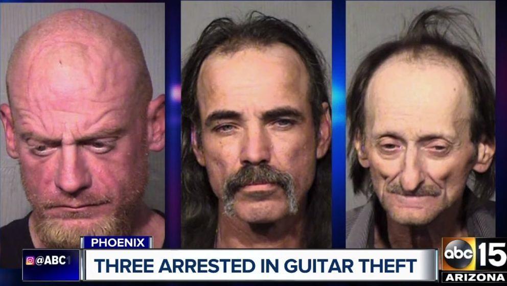 Die drei mutmaßlichen Diebe, die in Phoenix, Arizona eine Gitarre und einen Bass von Lamb Of God gestohlen haben sollen