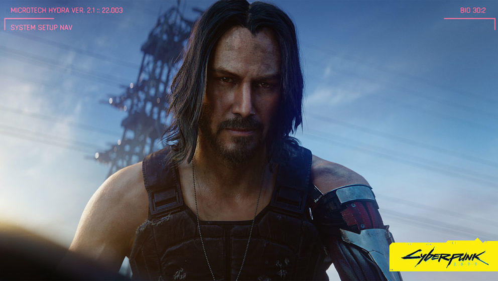 "Keanu Reeves in seiner Rolle als Johnny Silverhand in ""Cyberpunk 2077"""