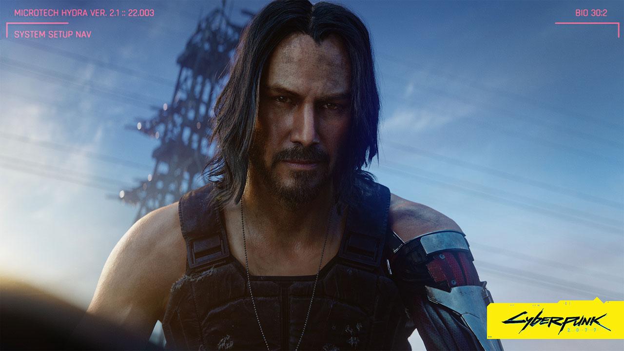 "Keanu Reeves in seiner Rolle als Johnny Silverhand in ""Cyberpunk 2077"""