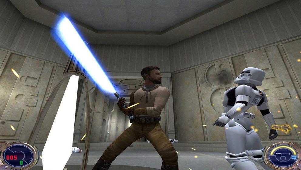 """Kann gut mit Lichtschwertern: Kyle Katarn in """"Star Wars Jedi Knight II: Jedi Outcast"""""""