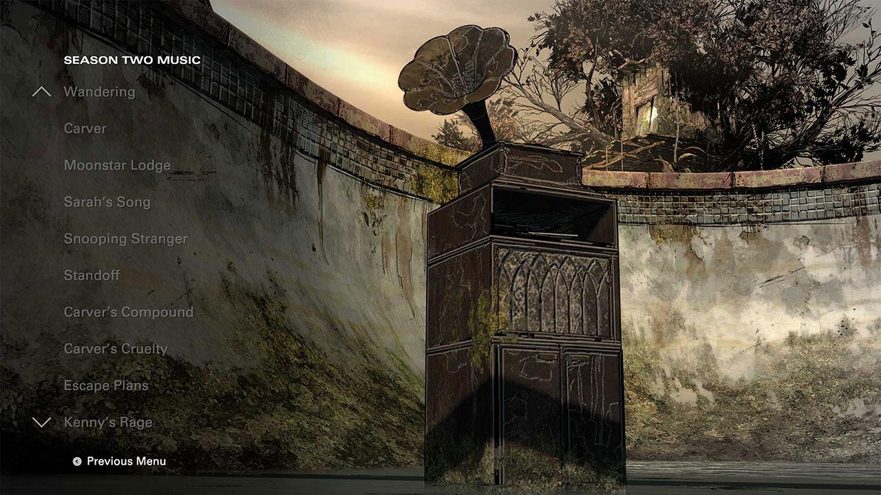 Der Musikplayer lässt sich direkt vom Hauptmenü des Spiels aufrufen und bietet über 40 Stücke aus allen Staffeln.