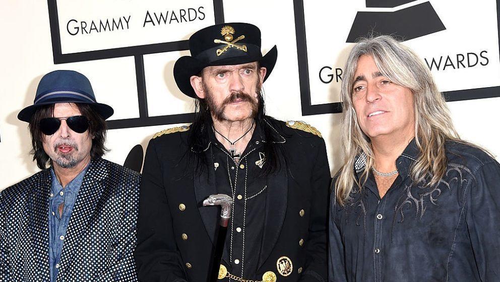 Phil Campbell, Lemmy Kilmister und Mikkey Dee (v.l.) von Motörhead bei der Verleihung der Grammy Awards 2015