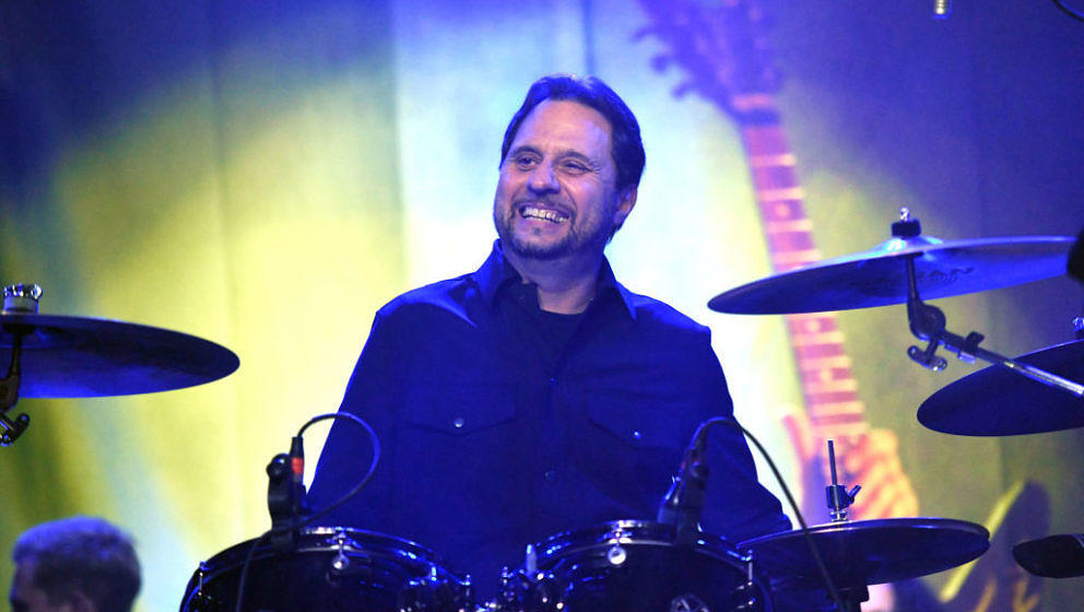 SANTA ANA, CALIFORNIA - JANUARY 24: Drummer Dave Lombardo, founding member of Slayer, performs onstage during DIMEBASH 2019 a