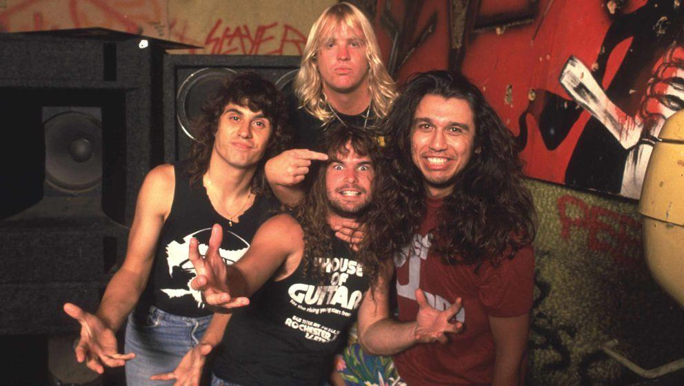 Slayer im Jahr 1986 in der vielleicht besten Phase ihrer Karriere: Dave Lombardo (l.), Kerry King (M. v.), Jeff Hanneman (M. h.) und Tom Araya (r.)