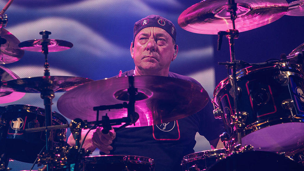 SEATTLE, WA - JULY 19:  Neil Peart of Rush performs on stage during the R40 LIVE Tour at KeyArena on July 19, 2015 in Seattle