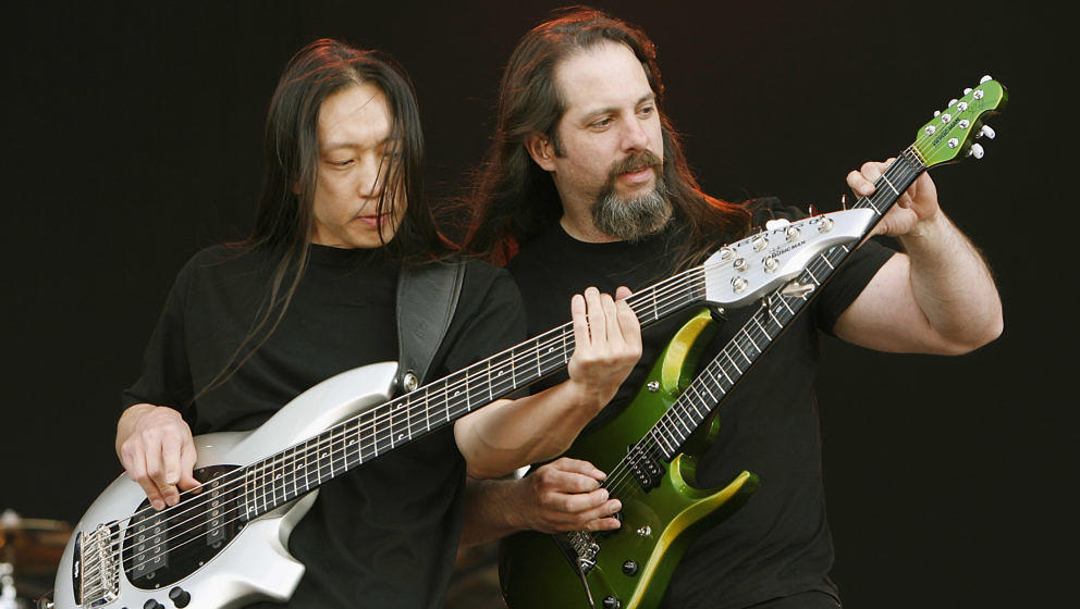 LEICESTER, UNITED KINGDOM - JUNE 14: John Myung and John Petrucci of Dream Theater performs on stage at day three of Download