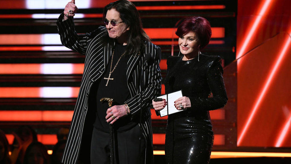 LOS ANGELES, CALIFORNIA - JANUARY 26: Ozzy Osbourne and Sharon Osbourne speak onstage during the 62nd Annual GRAMMY Awards at