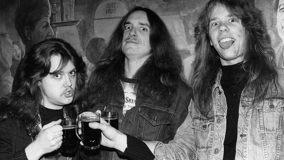 Lars Ulrich, Cliff Burton und James Hetfield, Metallica beim Aardshock Festival