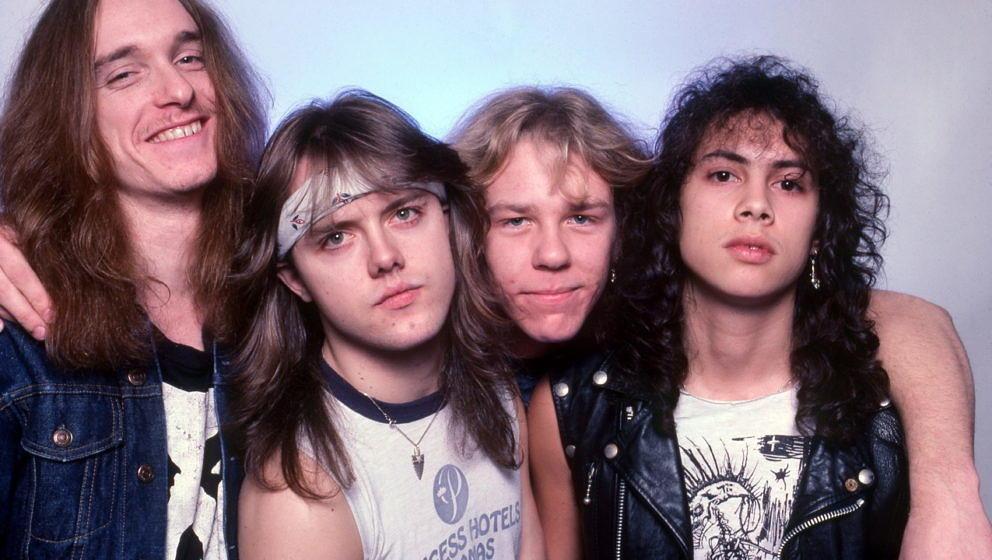 Metallica bei einer Foto-Session am 1. Februar 1985 in Royal Oak, Michigan