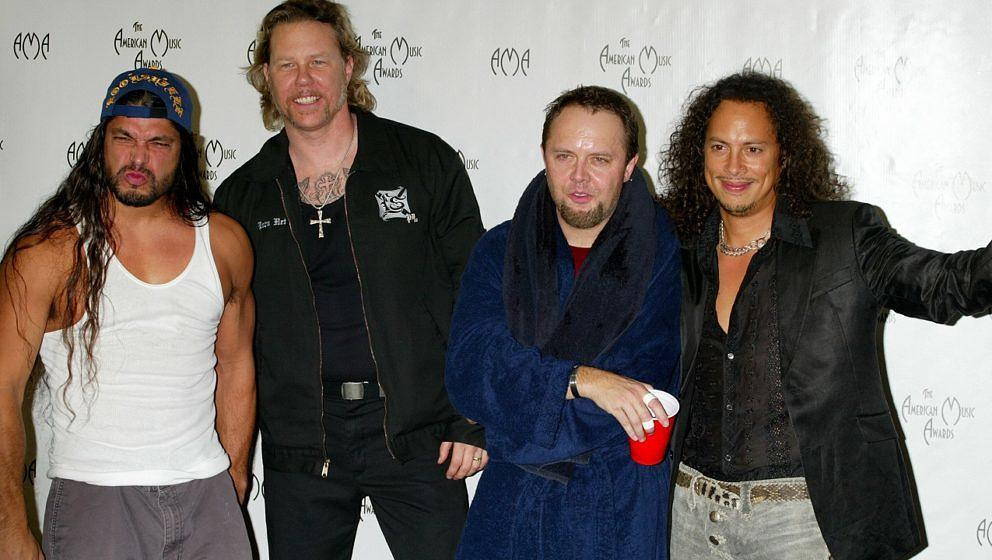 Robert Trujillo, James Hetfield, Lars Ulrich und Kirk Hammett von Metallica bei den 31st Annual American Music Awards