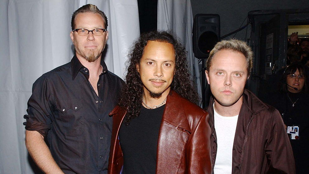 James Hetfield, Kirk Hammett und Lars Ulrich 2002 bei der 'MTV Icon Aerosmith'-Show