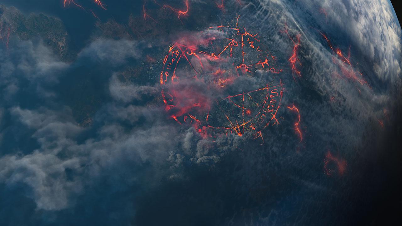 Bedrohliche Runen-Pentagramme haben sich in die Erde gebrannt