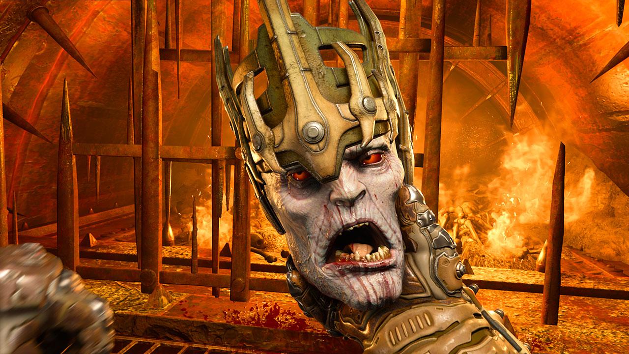 Der DOOM-Slayer reißt auch gerne Köpfe von Gegnern ab und behält sie als Andenken