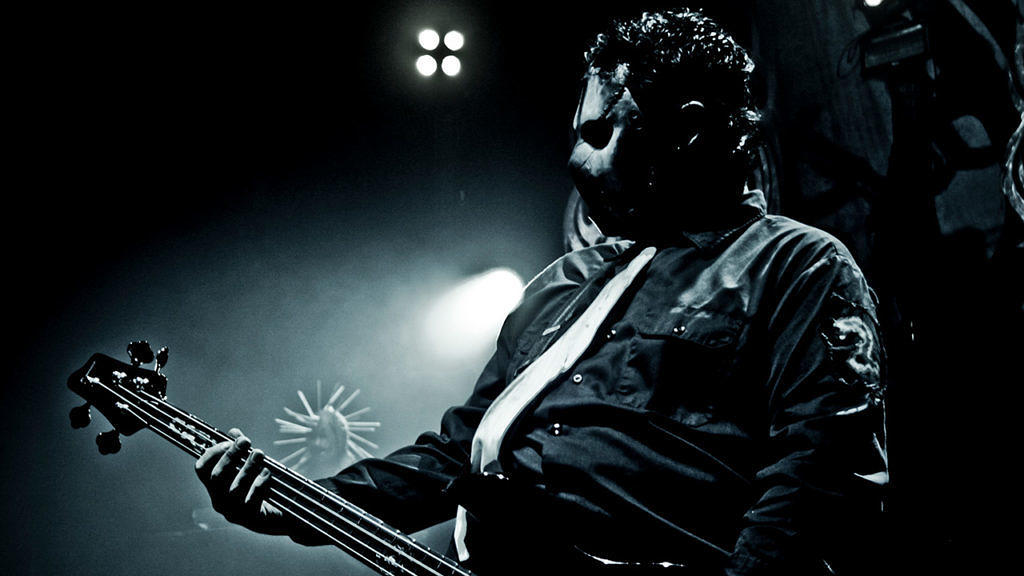 Paul Gray mit Slipknot im Hammersmith Apollo in London, 2008.