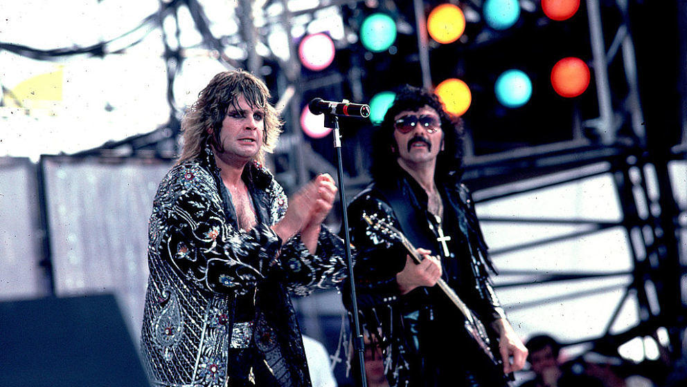 Ozzy Osbourne and Tony Iommi of Black Sabbath at Live Aid on 7/13/85 in Philadelphia, Pa. (Photo by Paul Natkin/WireImage)