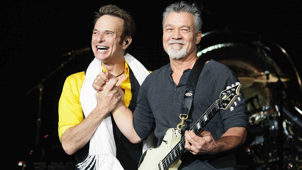 David Lee Roth (l.) und Eddie Van Halen im Shoreline Amphitheatre am 16. Juli 2015 im kalifornischen Mountain View