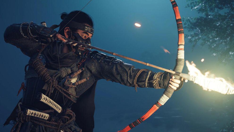 """In """"Ghost Of Tsushima"""" kämpft Jin mit allen Mitteln – auch brennende Pfeile gehören zu seinem Repertoire"""