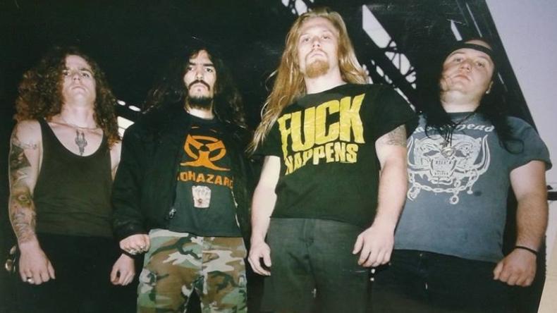 Machine Head Anfang der Neunziger mit Schlagzeuger Tony Costanza (r.)