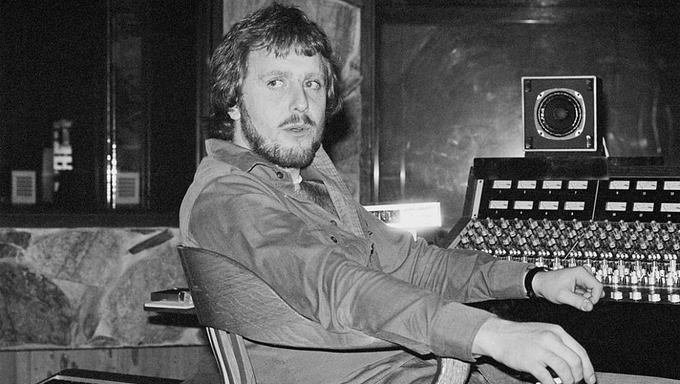 LOS ANGELES, USA - 1st APRIL: Music producer Martin Birch posed at the mixing desk while working with Rainbow on the album 'R