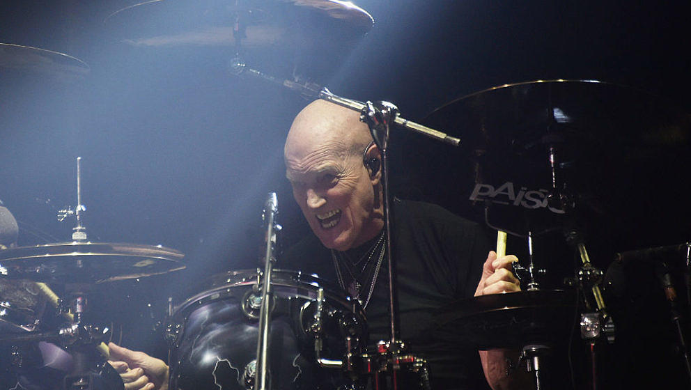 NEW YORK, NY - SEPTEMBER 14:  Drummer Chris Slade of AC/DC performs during the AC/DC Rock Or Bust Tour at Madison Square Gard