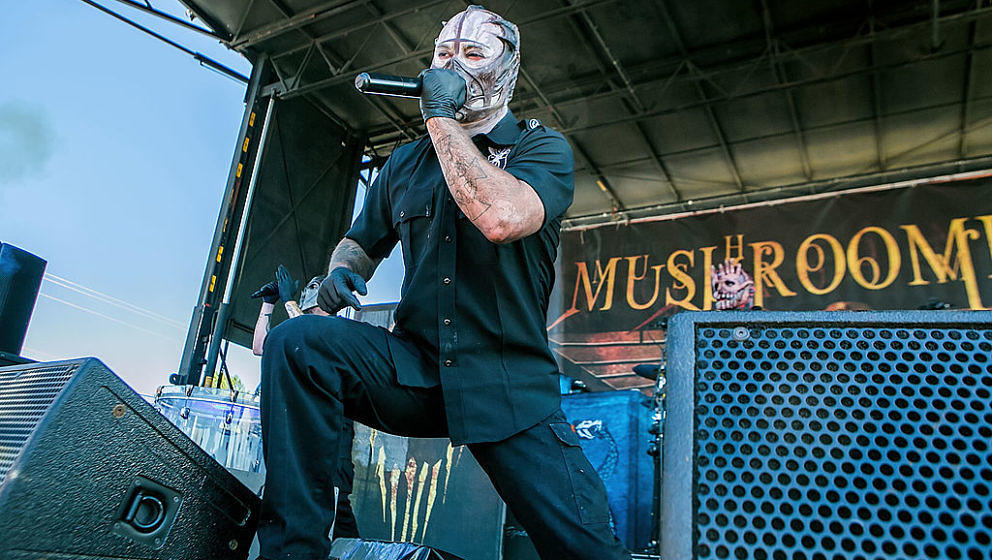 ENUMCLAW, WA - JULY 08:  Mushroomhead performs live at White River Amphitheater on July 8, 2014 in Enumclaw, Washington.  (Ph