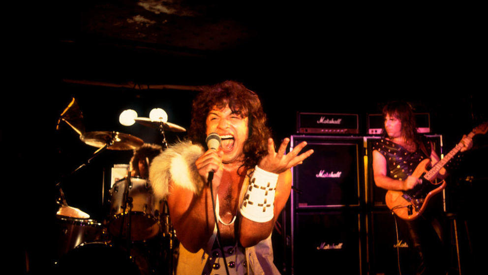 View of American metal band Manowar performing at Tuts in Chicago, Illinois, July 21, 1982. (Photo by Paul Natkin/Getty Image