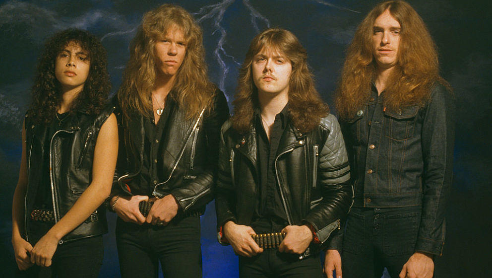 American heavy metal group Metallica, UK, 1985. Left to right: lead guitarist Kirk Hammett, singer and guitarist James Hetfie